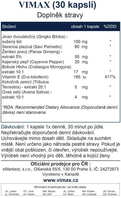 Vimax - česká etiketa